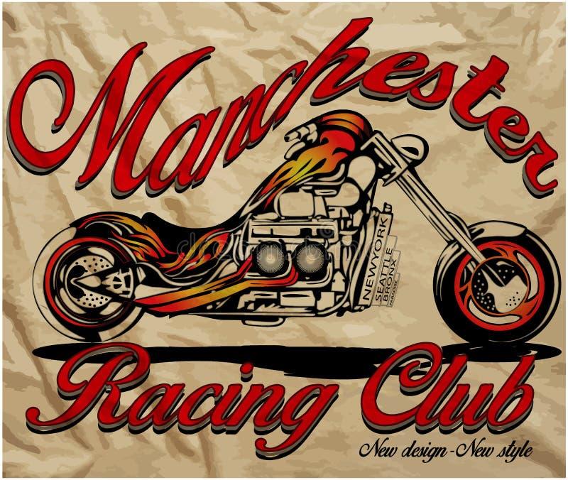 Мотоцикл эскиза иллюстрации с футболкой печатает векторную графику иллюстрация вектора