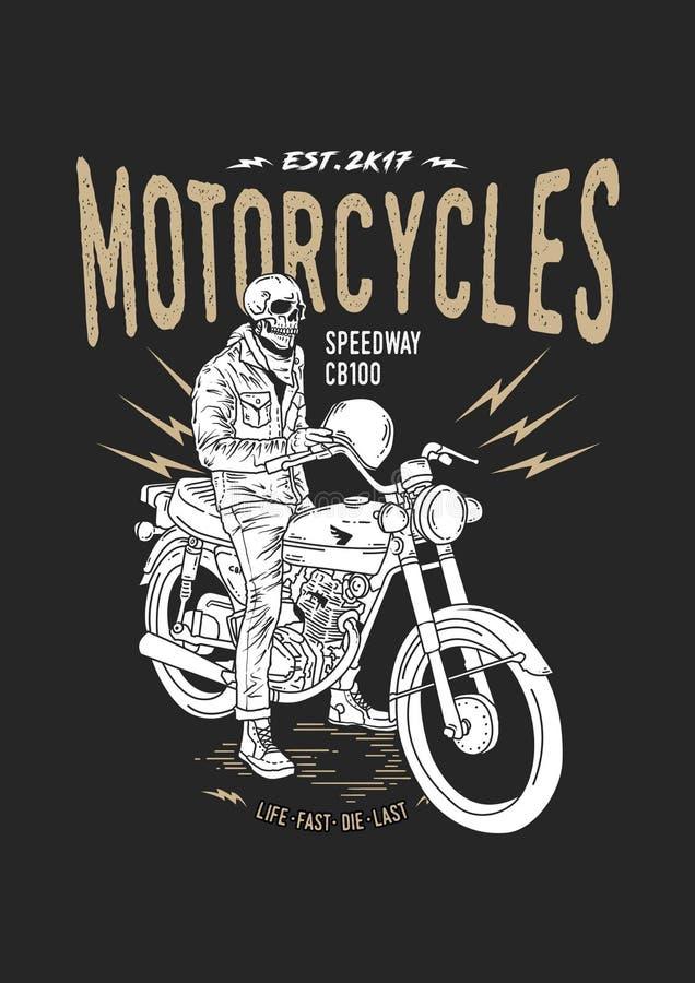 Мотоцикл CB100 исключительного всадника черепа иллюстрации винтажный бесплатная иллюстрация