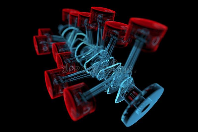 Мотылевый вал с поршенями (прозрачные рентгеновского снимка 3D красные и голубые) иллюстрация штока