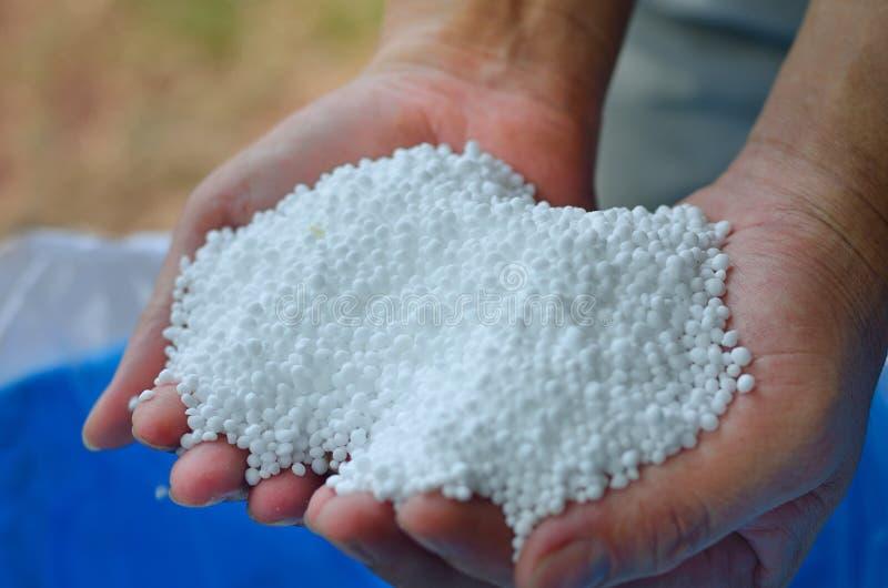 Мочевина, удобрение азота химическое на руке фермера стоковые фото