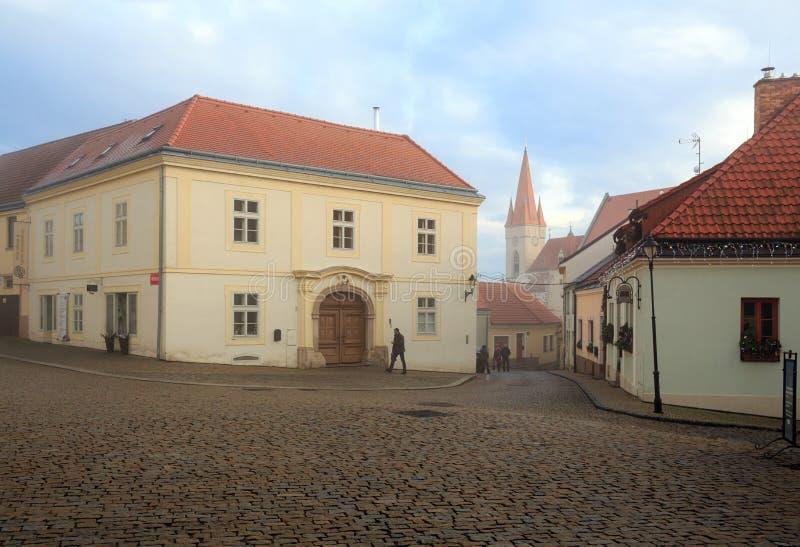 Мощенная булыжником улица в историческом центре города на туманный зимний день Городок Znojmo, чехия стоковые изображения rf