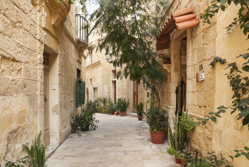 Мощенная булыжником улица в городке Мальте valetta старом стоковая фотография rf