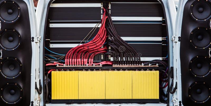 Мощная аудиосистема автомобиля стоковое фото rf