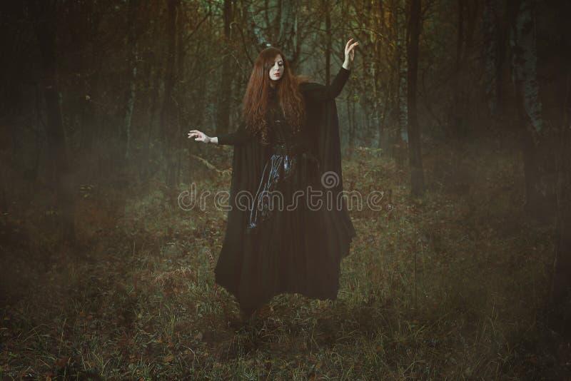 Мощная левитация ведьмы леса стоковое изображение rf
