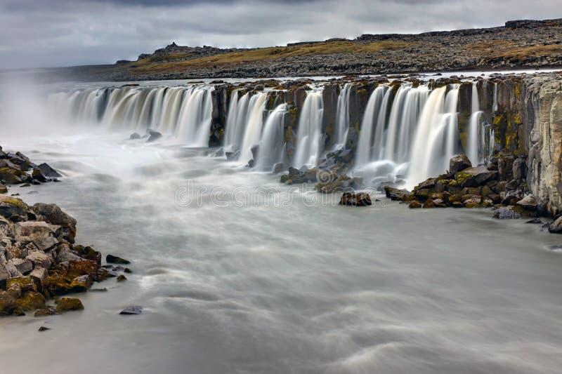 Мощный водопад Selfoss стоковое изображение rf