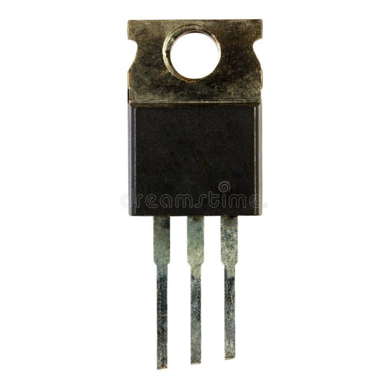 Мощный конец-вверх транзистора изолированный на белой предпосылке компоненты электронные стоковая фотография rf