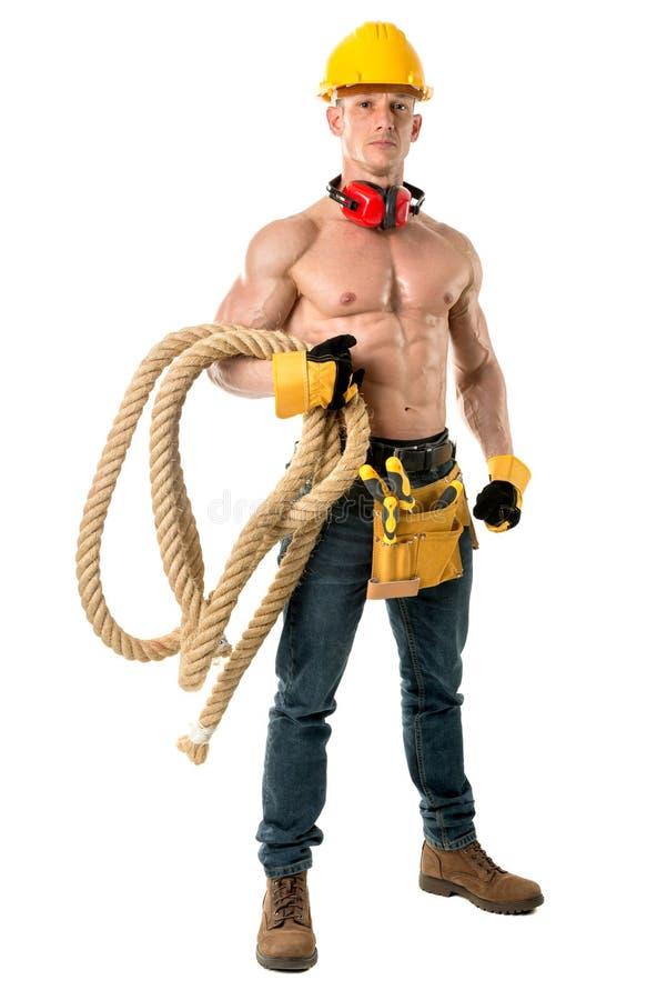 Мощный рабочий-строитель стоковые фотографии rf