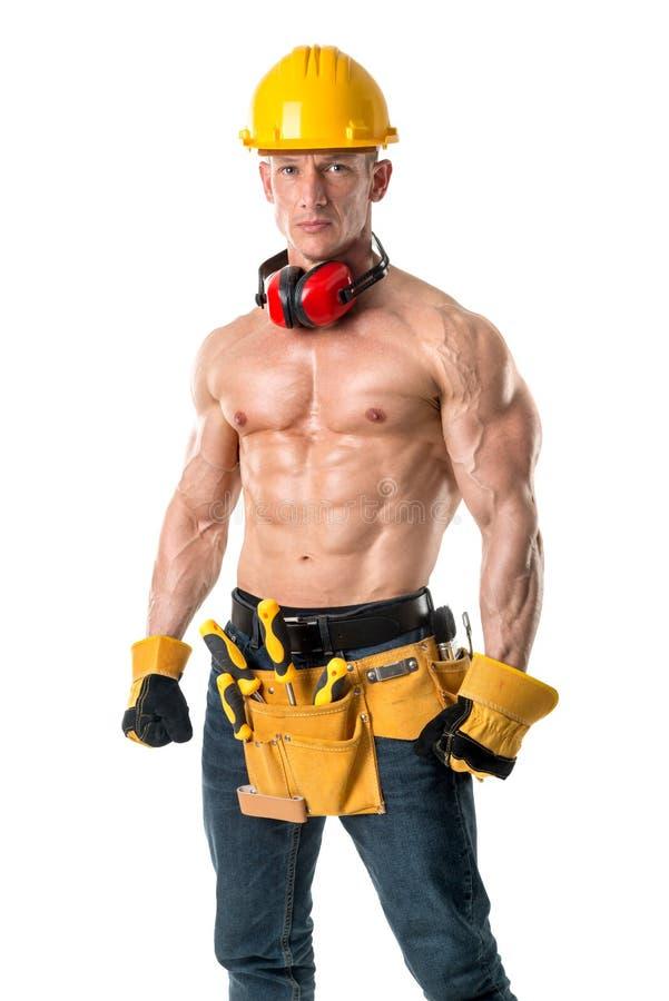 Мощный рабочий-строитель стоковое фото rf