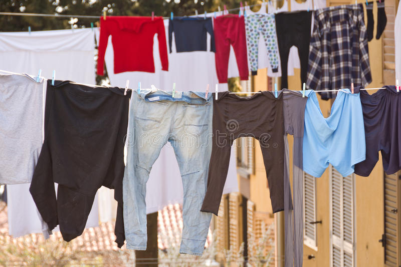 Моя линии с сушить одежд стоковые фото