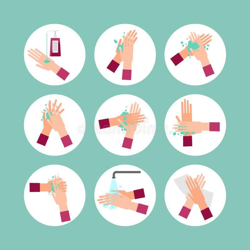 Моя комплект собрания значка иллюстрации вектора шагов схемы рук Круглые изображения с мылом, водой, чисткой пальца и бумажным по иллюстрация штока