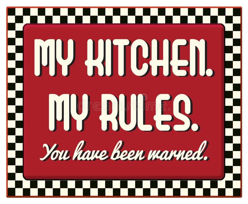 Моя кухня мой знак правил ретро винтажный иллюстрация вектора