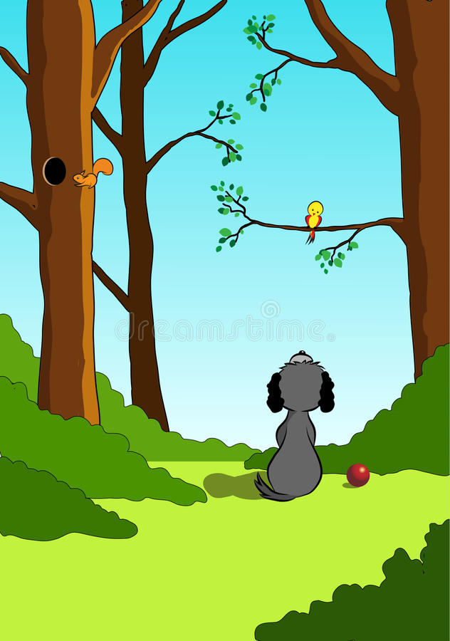 Моя маленькая иллюстрация друга собаки и маленькой птицы иллюстрация штока