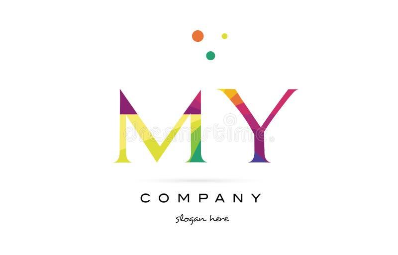 моя радуга m y творческая красит значок логотипа письма алфавита иллюстрация вектора