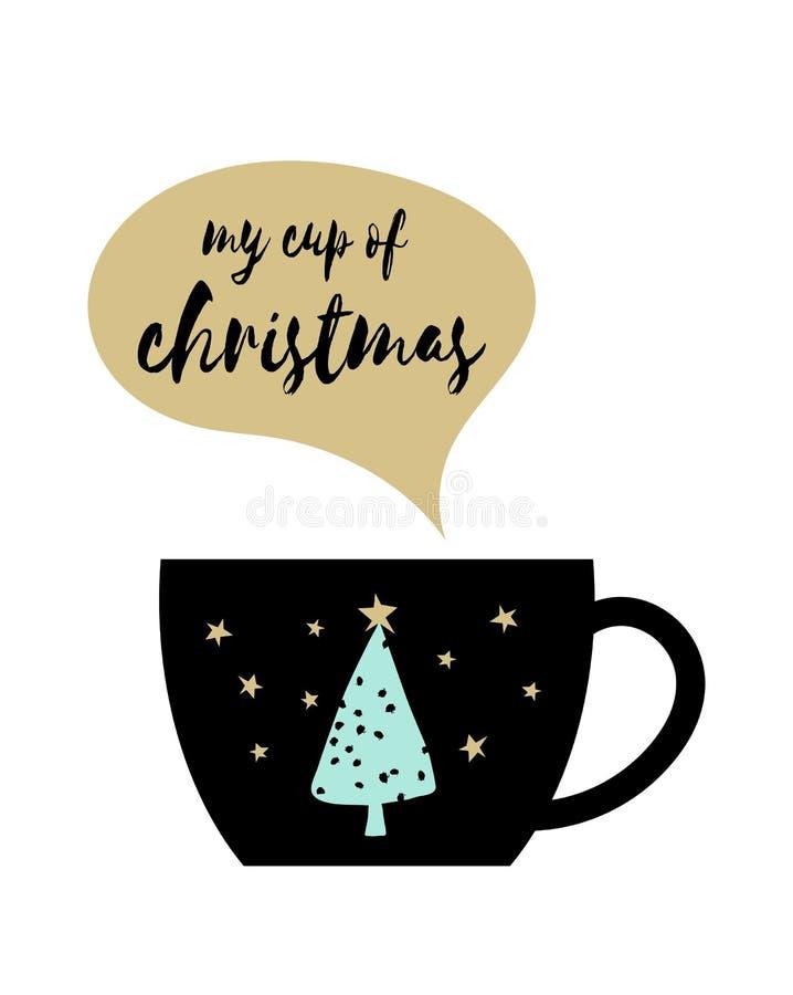 Моя чашка рождества с милым деревом, звезды и речь клокочут на белизне иллюстрация штока