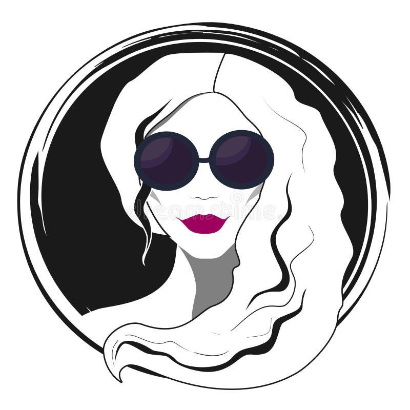 Мода женщины с солнечными очками иллюстрация штока