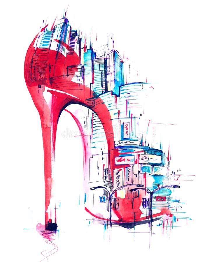 Мода и город иллюстрация штока
