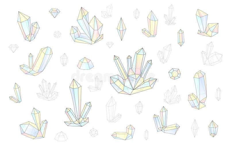 Мода комплекта 18 ярко покрасила стиль битника диамантов Стильный кристалл иллюстрация штока