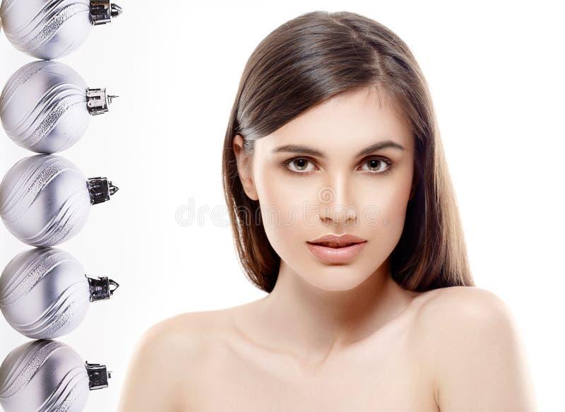 Мода красоты портрета Нового Года женщины стоковые изображения rf