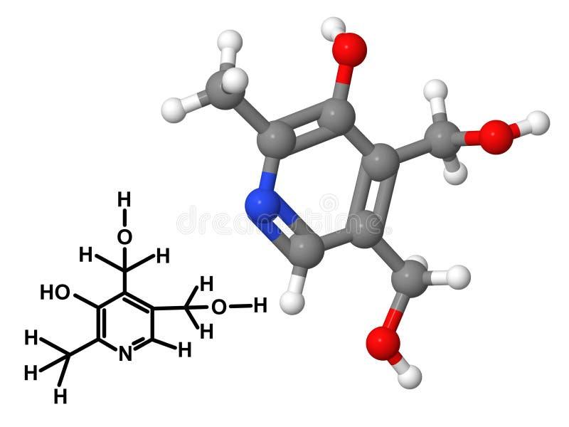 Молекула Витамина B6 с химической формулой иллюстрация вектора
