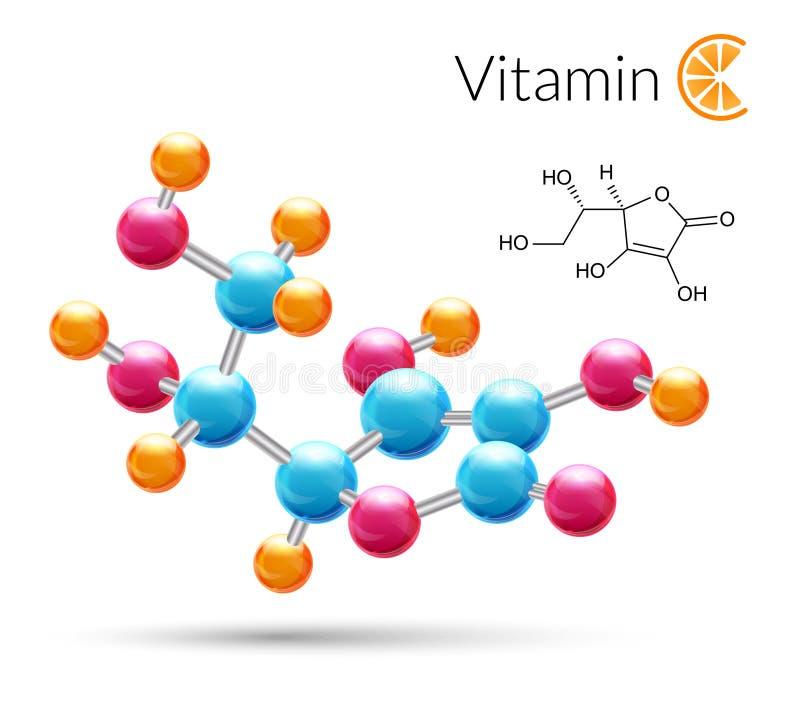 Молекула витамин C иллюстрация вектора