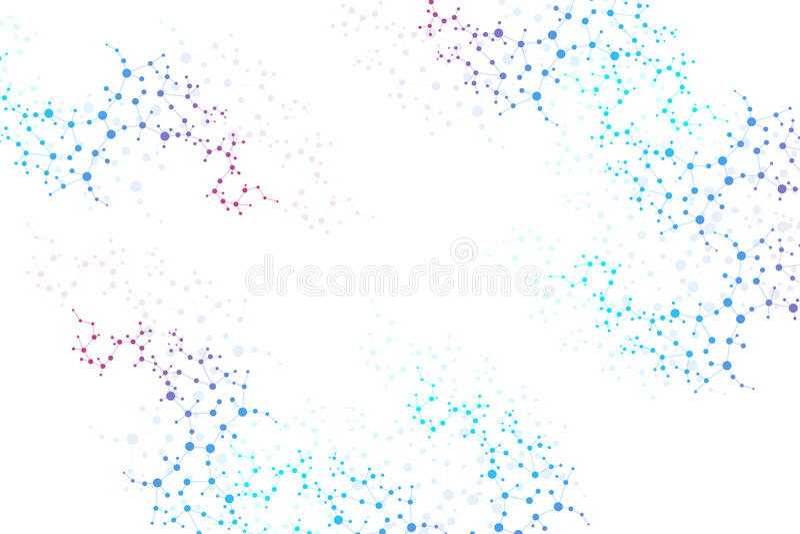 Молекула и связь структуры Дна, атом, нейроны Научная концепция для вашего дизайна Соединенные линии с точками бесплатная иллюстрация