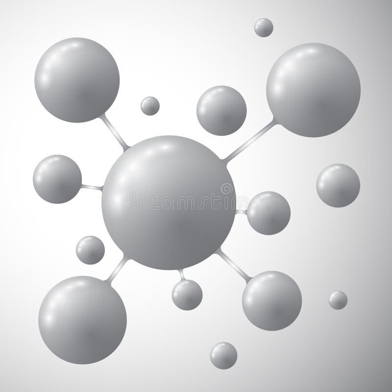 Молекула на серой предпосылке бесплатная иллюстрация