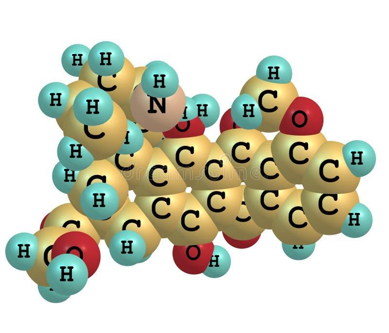 Молекула Epirubicin изолированная на белизне иллюстрация вектора
