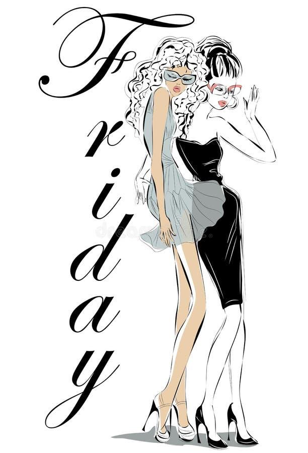 Модели женщин моды в стиле эскиза бесплатная иллюстрация