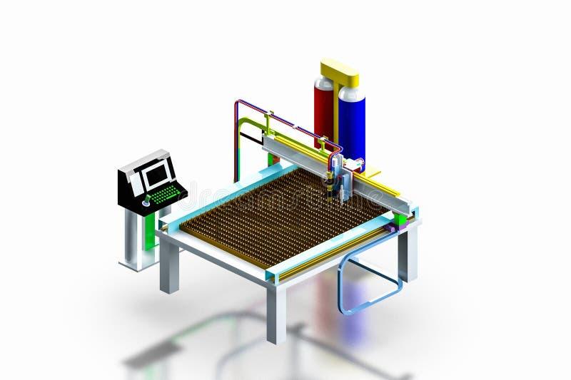 Модельная промышленная машина резца плазмы, 3D представляет. стоковые фотографии rf