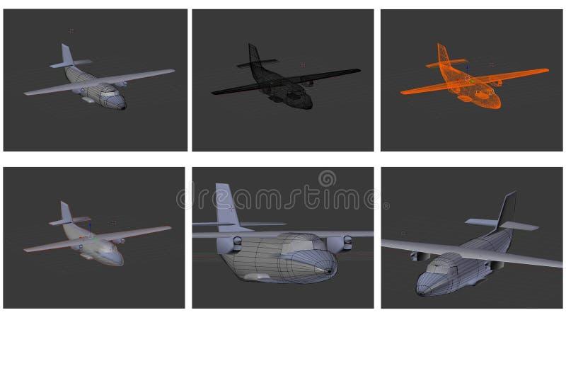 Модельные воздушные судн в 3D иллюстрация вектора