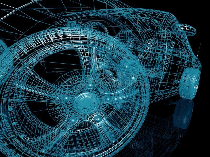Модель автомобиля на черной предпосылке иллюстрация вектора