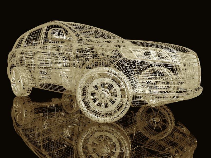 Модель автомобиля на черноте иллюстрация вектора