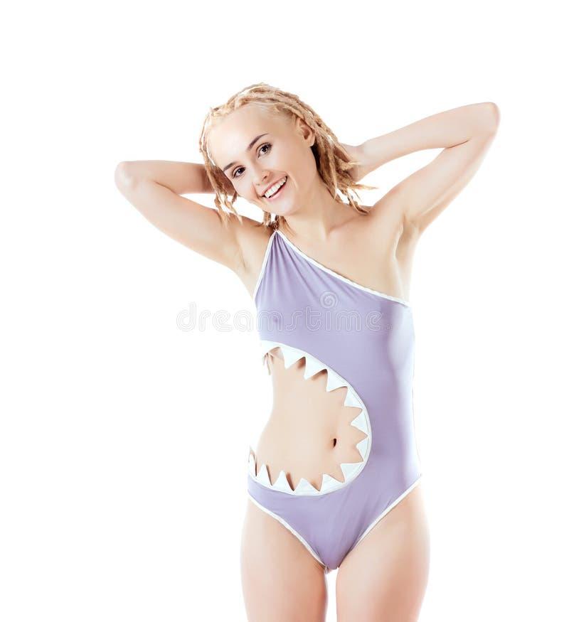 Модель в сером купальнике стоковое фото rf