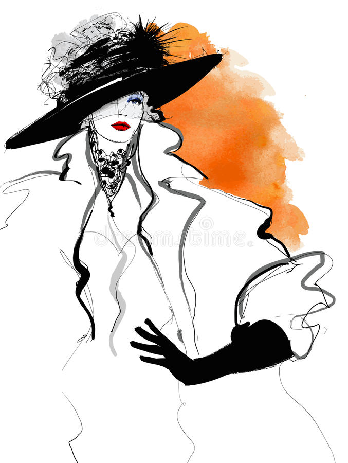 Модель женщины моды с черной шляпой иллюстрация штока