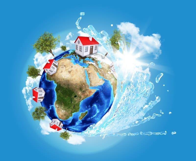 Модель земли с океанской волной и домами иллюстрация штока
