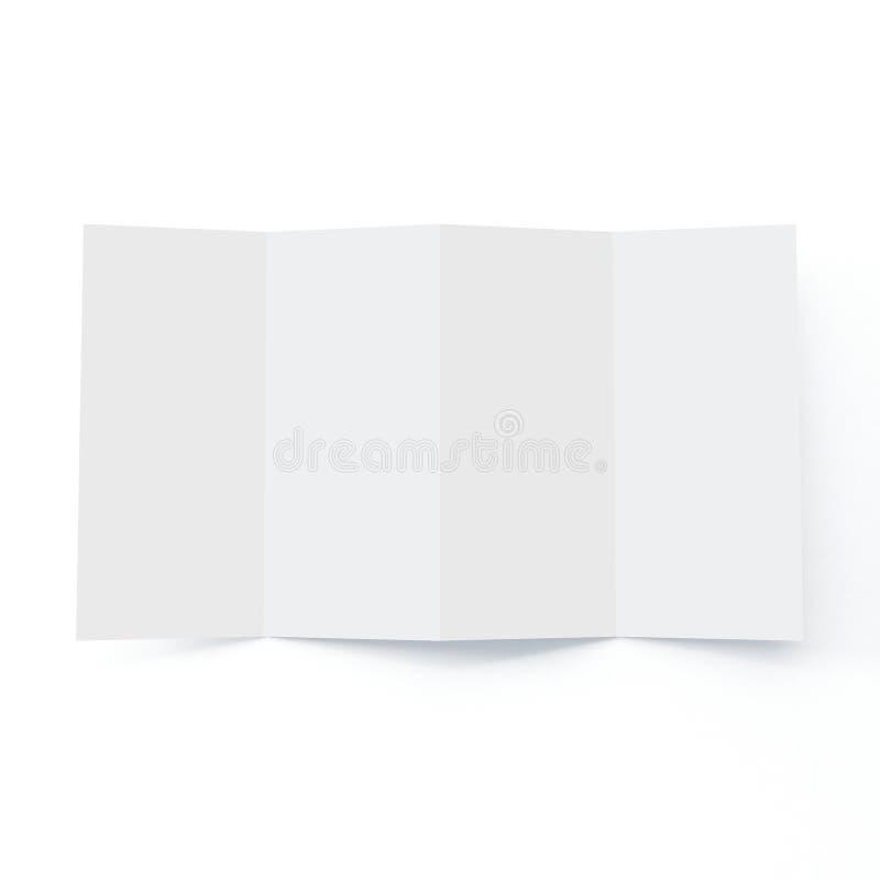 Модель-макет брошюры 4 створок на изолированной белой предпосылке иллюстрация штока