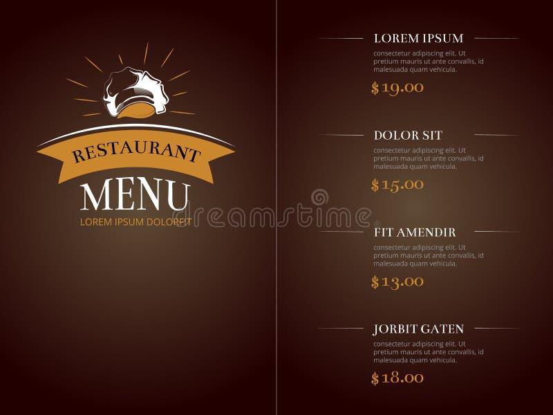 Модель-макет вектора идентичности шаблона меню ресторана кафа иллюстрация штока