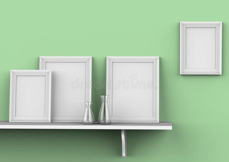 Модель-макет картинных рамок пробела 3 на полке иллюстрация 3d бесплатная иллюстрация