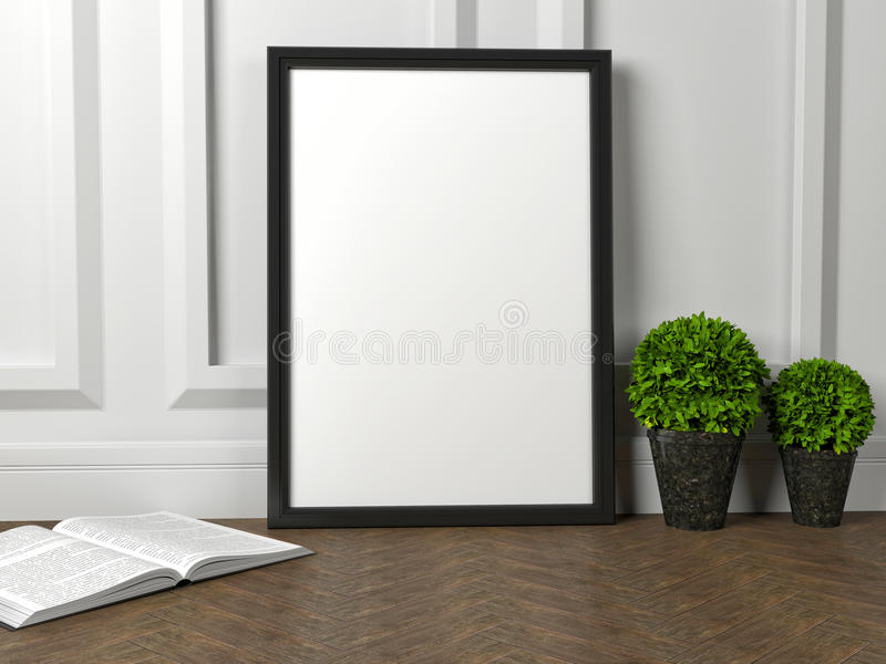 модель-макет пустого плаката рамки и зеленого цветка на поле иллюстрация вектора