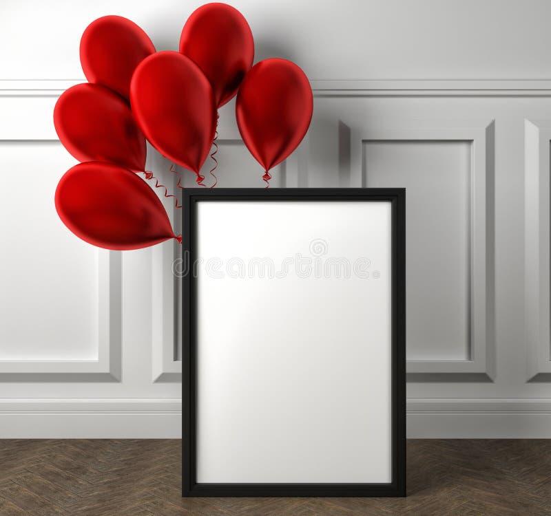 Модель-макет пустого плаката рамки и красных воздушных шаров на поле бесплатная иллюстрация