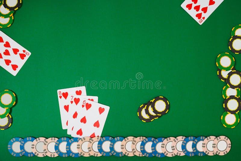 Модель-макет плана шаблона знамени для онлайн казино Зеленая таблица, взгляд сверху на рабочем месте иллюстрация штока