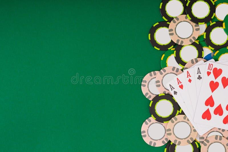 Модель-макет плана шаблона знамени для онлайн казино Зеленая таблица, взгляд сверху на рабочем месте бесплатная иллюстрация