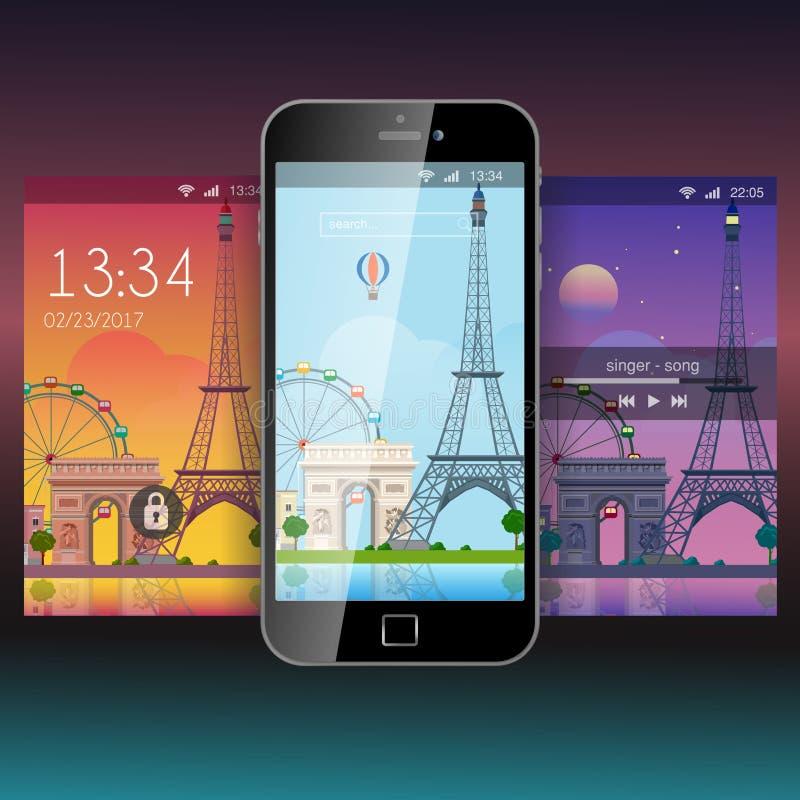 Модель-макет шаблона обоев предпосылки применения Парижа передвижной app бесплатная иллюстрация