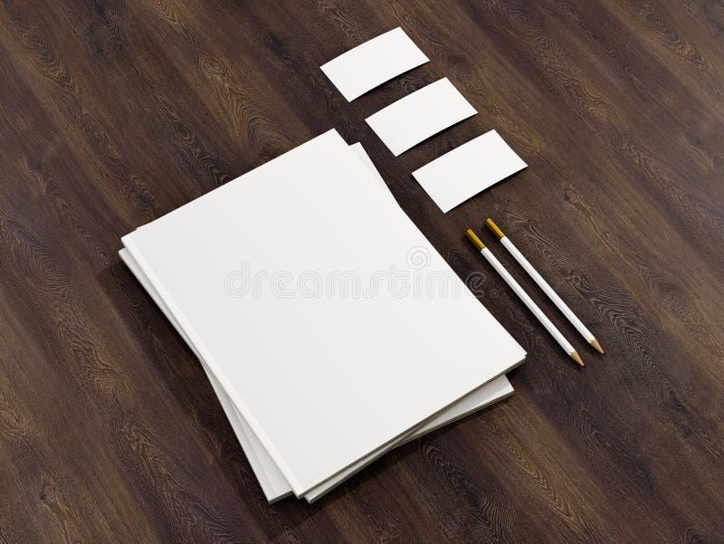 Модель-макет шаблона фирменного стиля на винтажном деревянном субстрате бесплатная иллюстрация