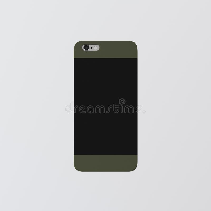 Модель-макет Smartphone пластичного случая телефона крышки шаблона крупного плана одного пустой зеленый чистый Родовая назад изол стоковые фото