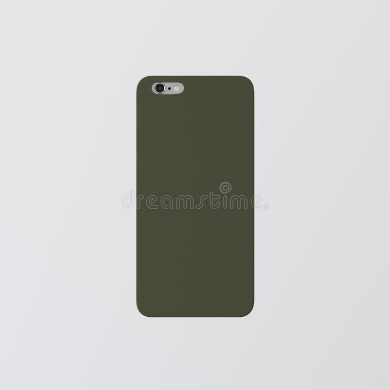 Модель-макет Smartphone пластичного случая телефона крышки шаблона крупного плана одного пустой зеленый чистый Родовая назад изол стоковые изображения