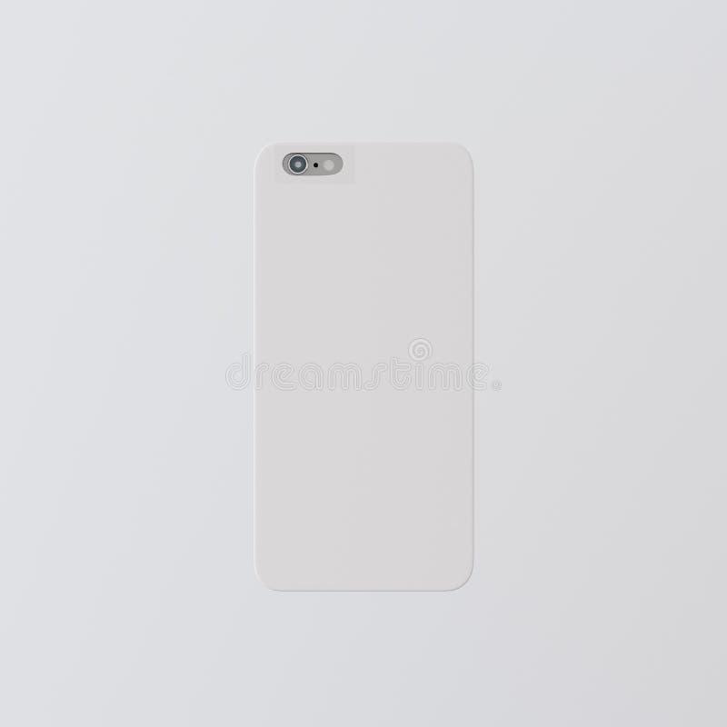 Модель-макет Smartphone случая телефона крышки пустого белого чистого шаблона крупного плана одного пластичный Родовая назад изол стоковое изображение