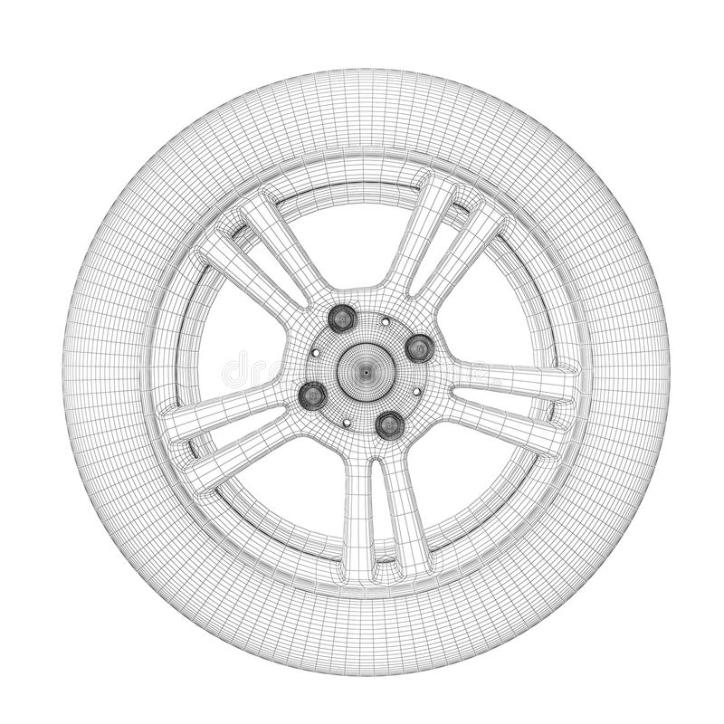 Модель провода колеса иллюстрация штока