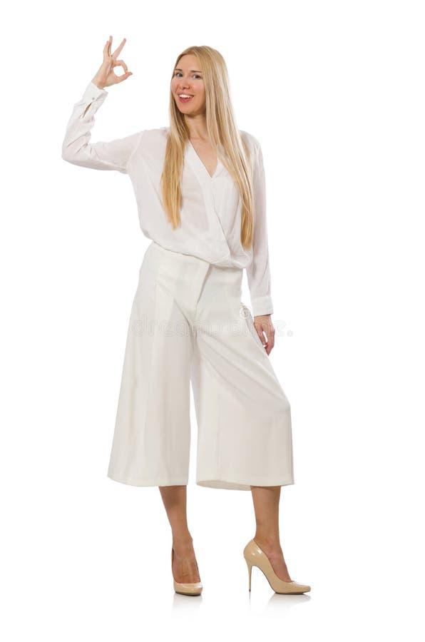 Модель светлых волос в элегантных flared брюках стоковое изображение