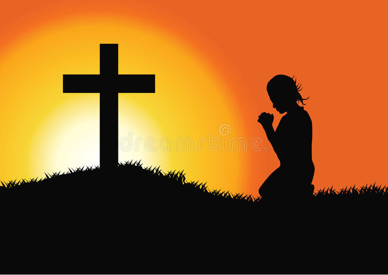 Молитва на кресте иллюстрация вектора